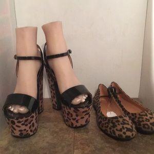 Candies leopard platforms &Time & True flats sz8.5